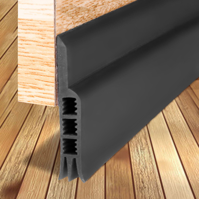 Door Strip, Door Sweep Weather Stripping Draft Stopper Under Door Draft Blocker Door Seal Noise Stopper Kick Off Bugs Mosquitoes(Black 2'' Width X 39'' Length)