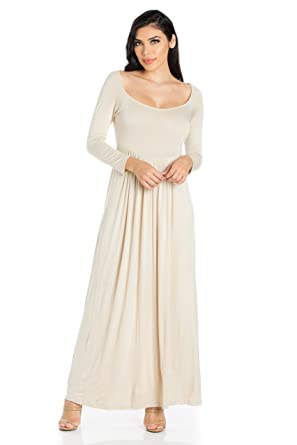 f516aa70c9c6 24seven Comfort Apparel Women's Clothes Long Sleeve Empire Waist Square  Neck Maxi Dress - Made in USA - (Sizes S-1XL) at Amazon Women's Clothing  store: