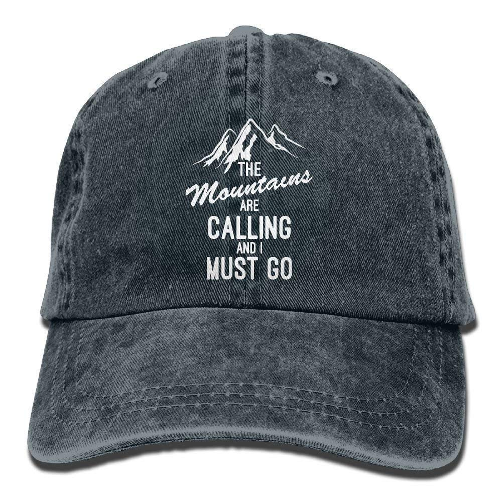 The Mountains are Calling I Must Go Adult Cotton Denim Cowboy Hat Sun Cap W554348
