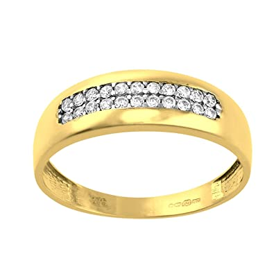 Citerna 9 ct Wedding Band with Channel Set CZ Stones