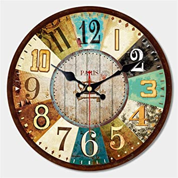 Mrzy Reloj de Pared de Madera Grande de la Vendimia Creativo Silent Home Cafe Relojes de