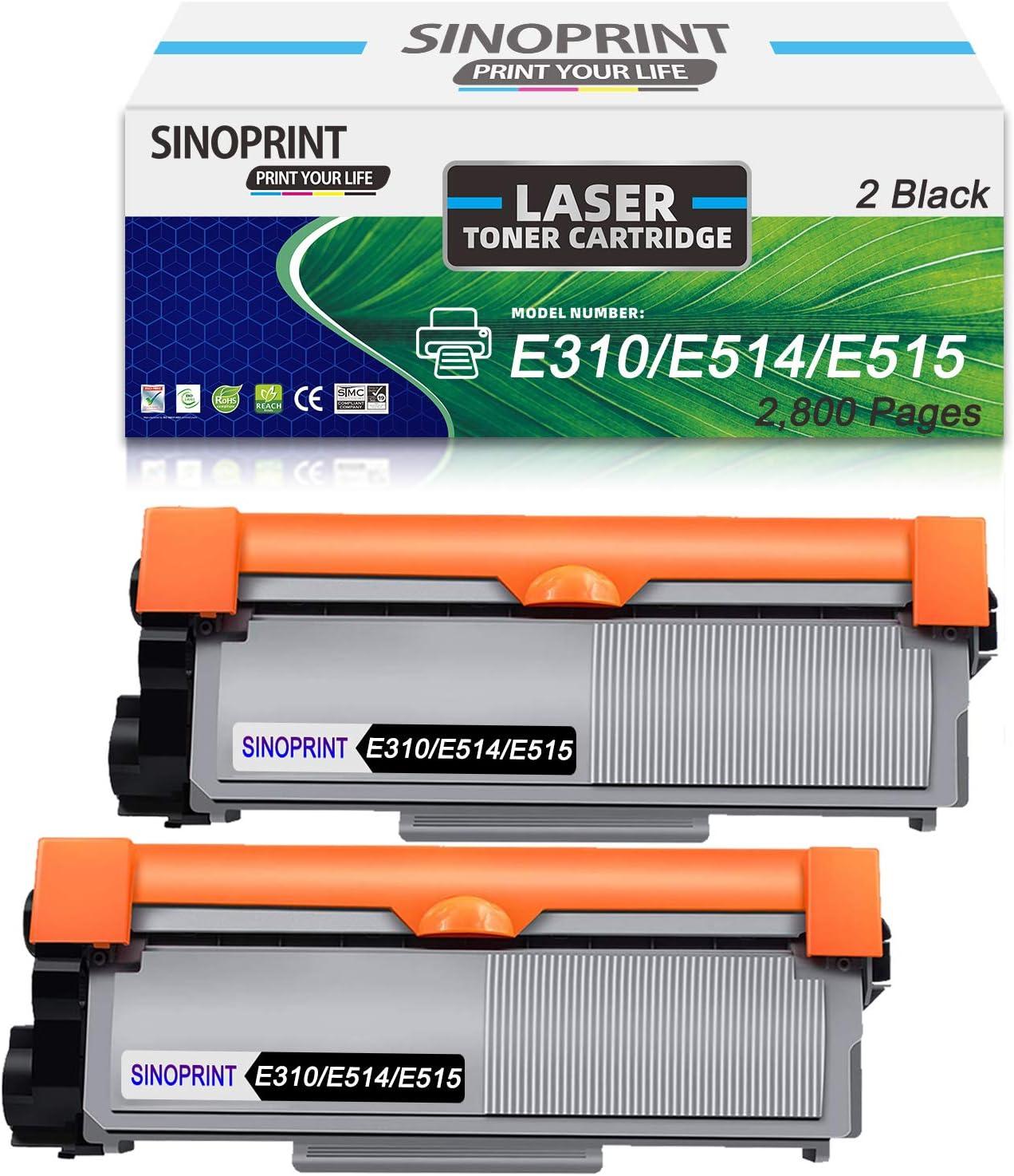 SINOPRINT Compatible E310 Toner Cartridge Replacement for Dell E310 E514 E515 use in Dell E310dw E514dw E515dw E515dn Printer-2 Black 2,600 Pages