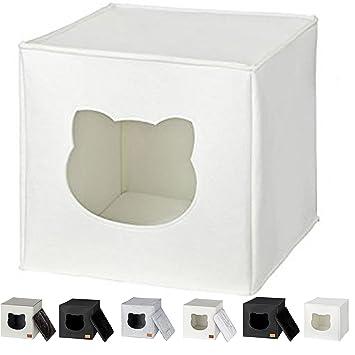 NEEZ Cama de Gato by Incl. cojín | Casa de Gato Adecuada para IKEA Kallax & Expedit | Cueva Comoda en Gris óptica de Fieltro | Diseño Elegante y ...