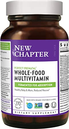 New Chapter Perfect Prenatal Vitamins - 270ct, Organic Prenatal Vitamins, Non-GMO Ingredients for Healthy Baby & Mom - Folate (Methylfolate), Iron, Vitamin D3, Fermented with Whole Foods and Probiotic