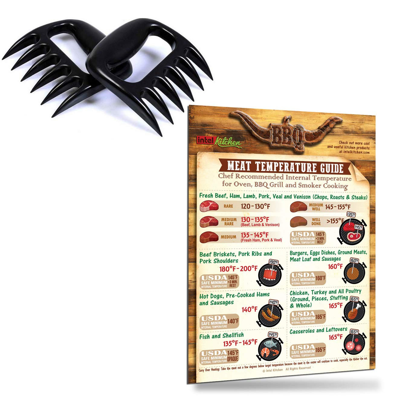 """Intel Kitchen BBQ Accessories Gifts: Best Design Meat Temperature Guide 8""""x11"""" Magnet 2 Lightning Fast Meat Claws Meat Shredder Paws for Pulled Pork Beef Chicken Bear Claws"""