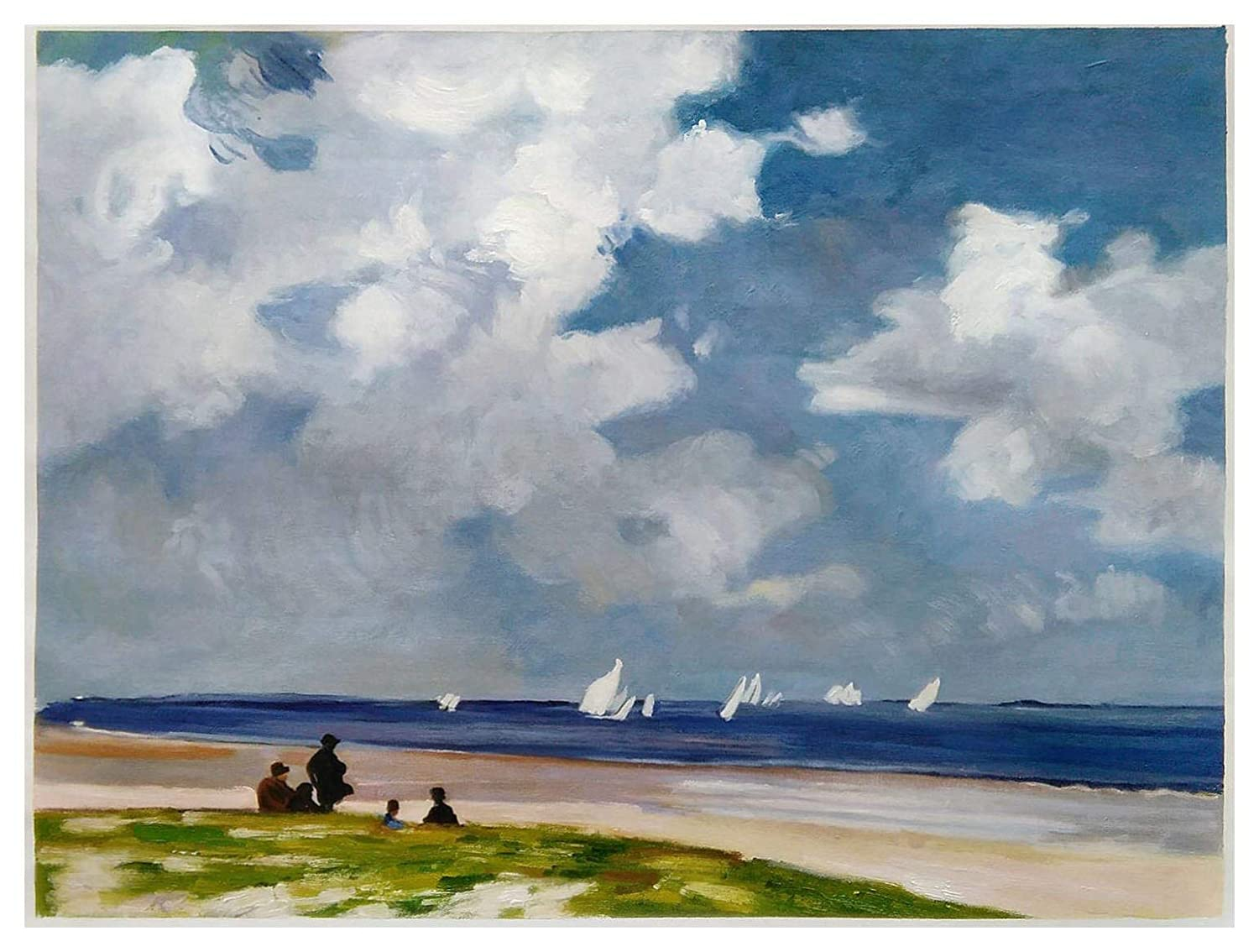 Sailboats off Far Rockaway Edward Potthast hand-painted oil painting reproduction,Sailing Boat on the Ocean,Beautiful Beach Landscape Art