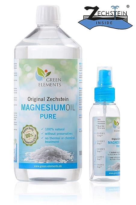 Aceite de magnesio PURO de Zechstein – Set compuesto de 1000 ml de agua salina natural