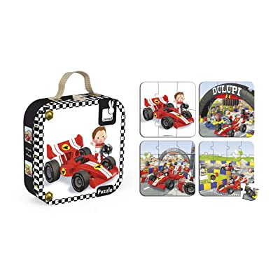 Janod 4-in-1 Gabin's Formula 1 Car Puzzle: Toys & Games