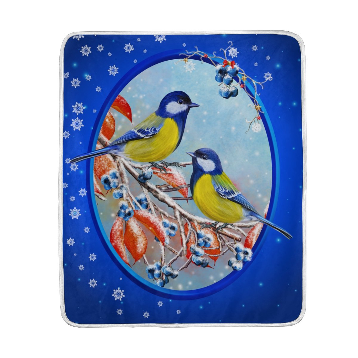 My Little Nest Warm Throw Blanket Small Bird Blue Berries Lightweight MicrofiberSoft Blanket Everyday Use for Bed Couch Sofa 50'' x 60''
