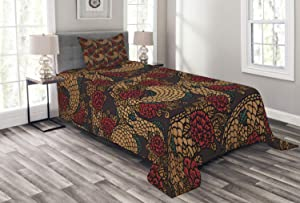 Ambesonne East Bedspread, Traditional Design Roses and Dragon Eastern Chinese Pattern, Decorative Quilted 2 Piece Coverlet Set with Pillow Sham, Twin Size, Jade Green