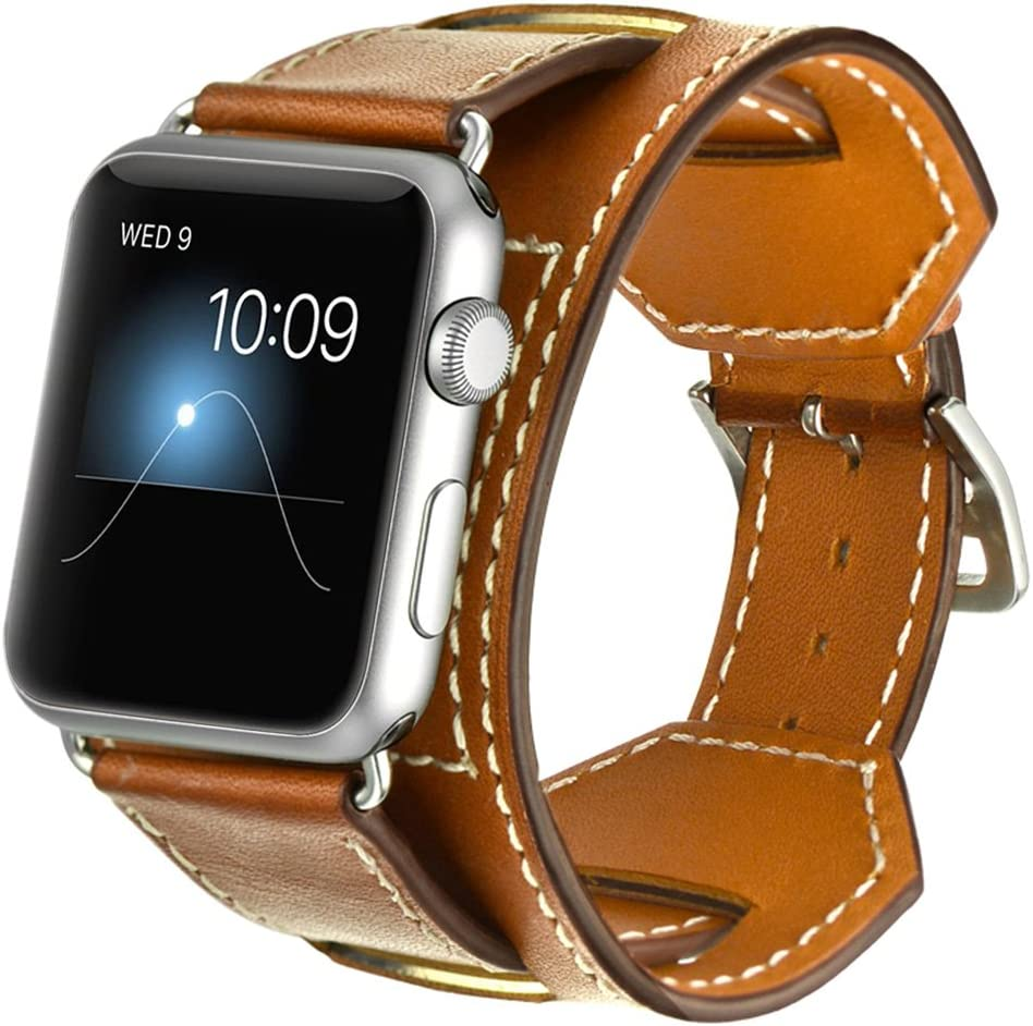 Valkit Bands Compatible with Apple Watch Band 38mm 40mm 42mm 44mm, Genuine Leather Strap Replacement Wristband with Metal Adapter Clasp for Men Women iWatch Series SE 6 5 4 3 2 1, Cuff - Brown