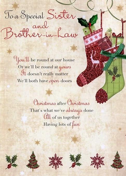 Amazon.com: Hermana y cuñado tarjeta de Navidad tarjetas ...