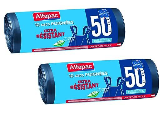 Alfapac - 10 Bolsas de Basura con Asas de 50 l ...