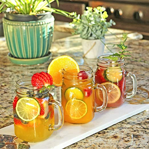 Amazon Com Large Glass Jars With Lids And Handles Kate Aspen Mason Jars Mugs Drinking Glass And Diy Favor Decor Wide Mouth 12 Oz Set Of 12 Kitchen Dining