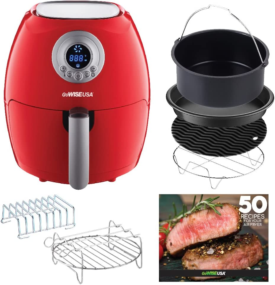 GoWISE USA Air Fryer with 6-Piece Accessory Set 50 Recipes for Your Air Fryer Book 2.75-QT, Chili Red