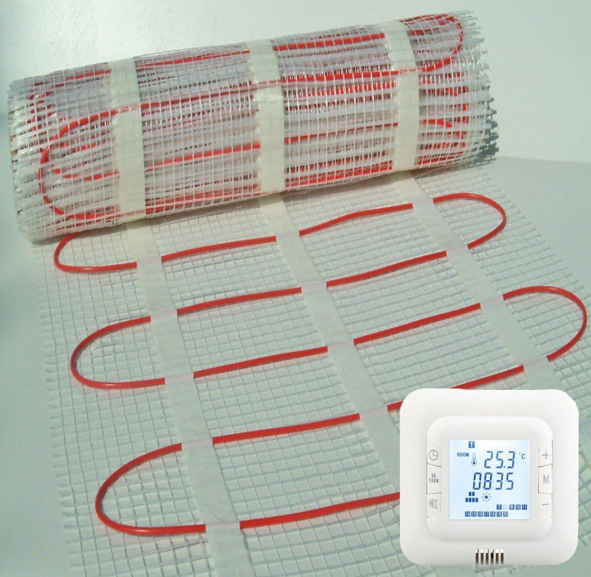 BodenW/ärme Underfloor Heating Mat Digital Thermostat 4.0m/² 150w//m/² Premium Quality Electric Dual Core Under Tile Heating