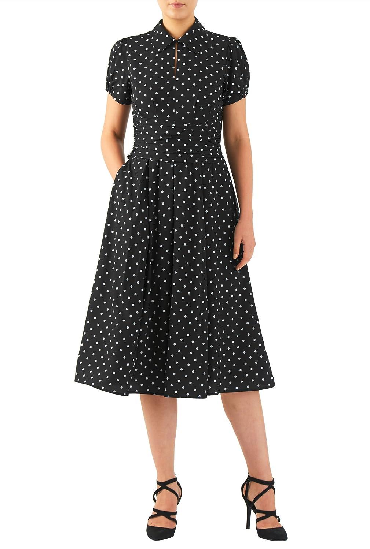 1940s Style Dresses and Clothing eShakti Womens Polka dot print crepe asymmetric pleat waist dress $73.95 AT vintagedancer.com
