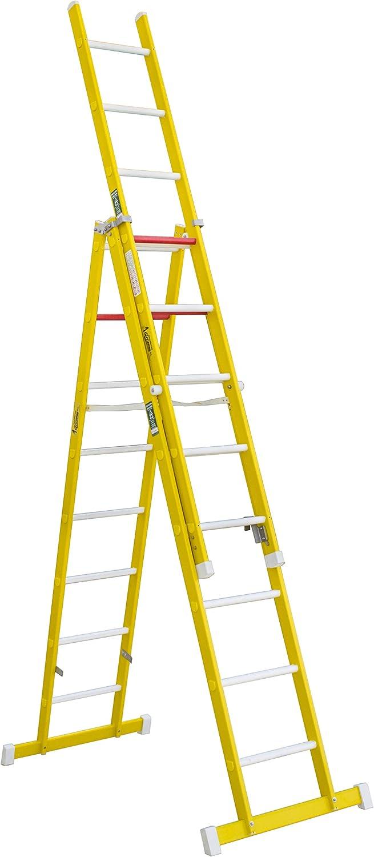 Escalera aislante de tijera con un tramo extensible, fabricada en fibra de vidrio. NO permite su uso con los tres tramos extendidos. Según norma UNE-EN 131 (8 peldaños x 3 tramos): Amazon.es: