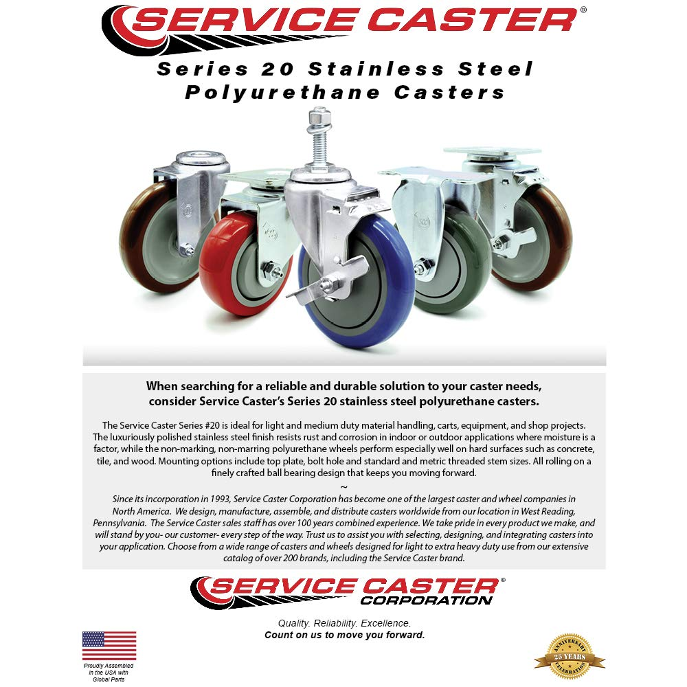 Service Caster – 4'' Gray Polyurethane Wheel – 2 Stainless Steel Swivel and 2 Stainless Steel Swivel Casters w/Brakes by Service Caster (Image #5)