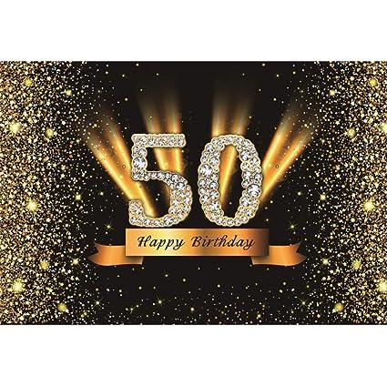 Cassisy 2,2x1,5m Vinilo Cumpleaños Telon de Fondo 50 cumpleaños Feliz Banner Lentejuelas Brillantes Rayos Diamond Fondos para Fotografia Party ...