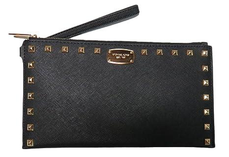 fed9094f53 Nuovo Michael Kors MK nero in pelle con borchie borsa in pelle Wristlet  pochette borsetta