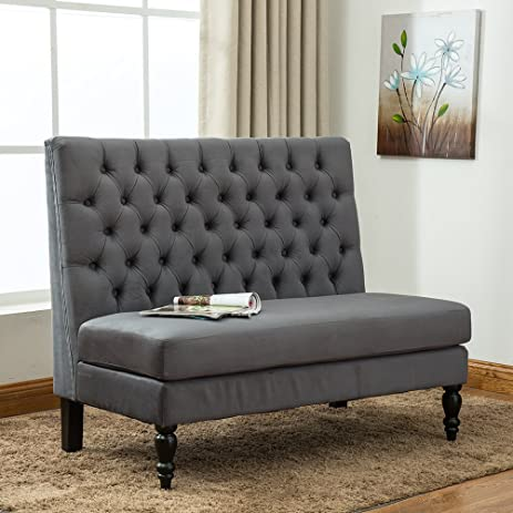 Tongli Modern Settee Bench Banquette Loveseat Button Tufted Fabric Sofa  Couch Chair 2 Seater Gray