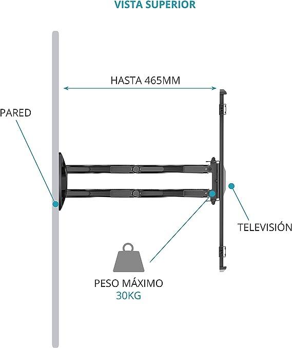 TM Electron TMSLC140 Soporte de pared universal inclinable giratorio con brazo doble para monitores o televisores LED, OLED, LCD, Plasma de 32