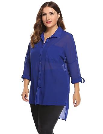 769d366ea65 Zeagoo Women s Plus Size Roll-Up Long Sleeve Blouse Button-Down Semi Sheer  Chiffon