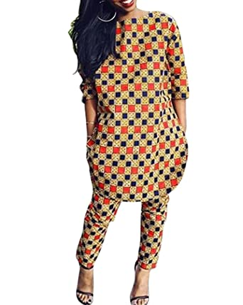 Amazon.com  Womens 2 Piece Outfits 3 4 Sleeve African Print Dashiki Top and  Legging Pants  Clothing 72641d6631d9
