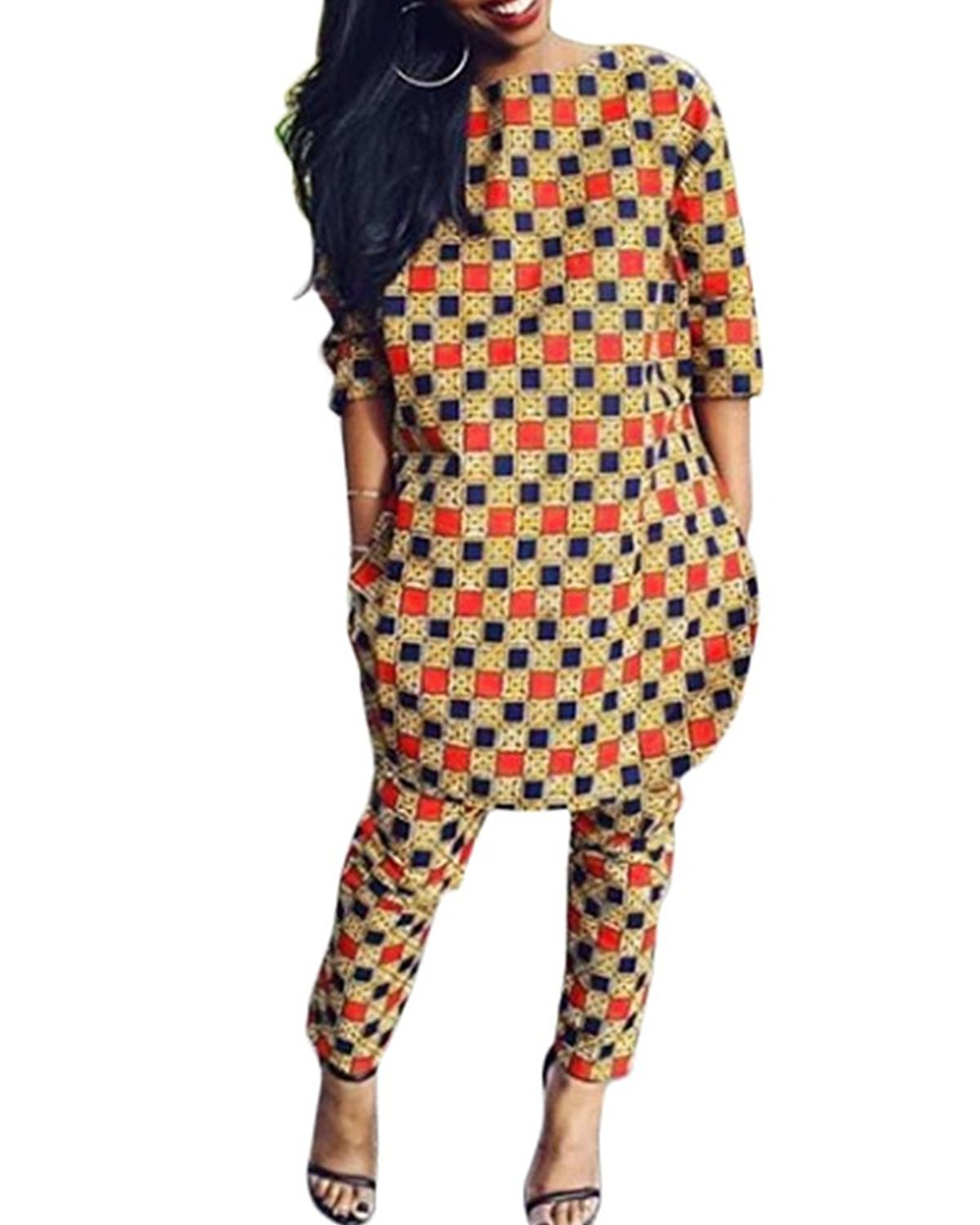 Womens 2 Piece Outfits 3/4 Sleeve African Print Dashiki Top and Legging Pants