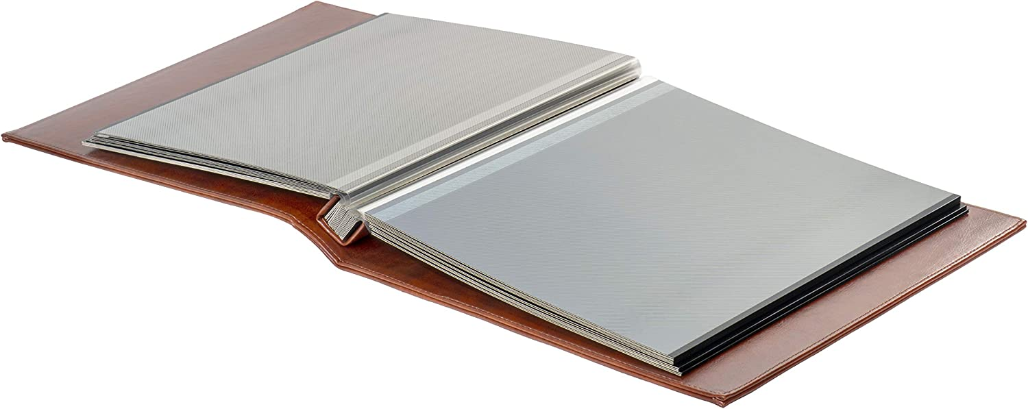 Brown Faux Leather Photo Album with Self Adhesive Black Sheets Red Co
