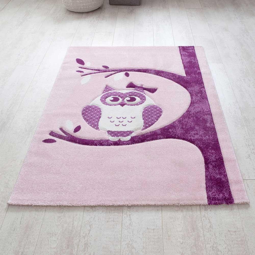 Pharao24 Kinderzimmer Teppich mit Eule Motiv Rosa Lila