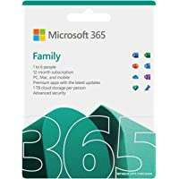 Microsoft 365 Family | 12-Month Subscription, up to 6 people | Premium Office apps | 1TB OneDrive cloud storage | PC/Mac…
