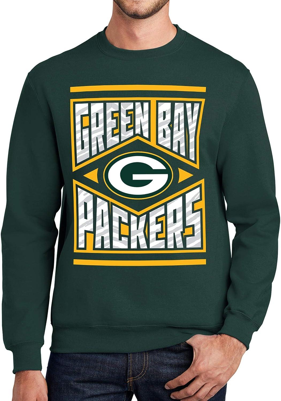 X-Large NFL Green Bay Packers Unisex Crew Neck Sweatshirt with Zebra Diamond Block Logo Green