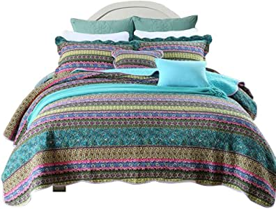 HNNSI Bohemian Quilt Comforter Sets King Size 3 Pieces, Cotton Boho Bedspread Sets Exotic Bohemia Bedding Sets