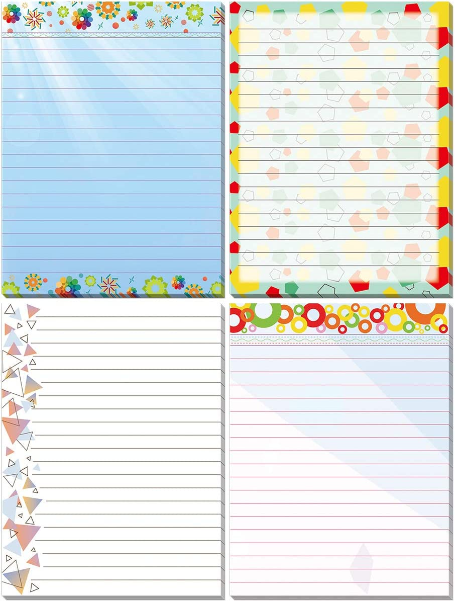 Fun Pattern Note Pads Small Pretty Note Pads for Office Gifts School Supplies 4 Assorted Designs