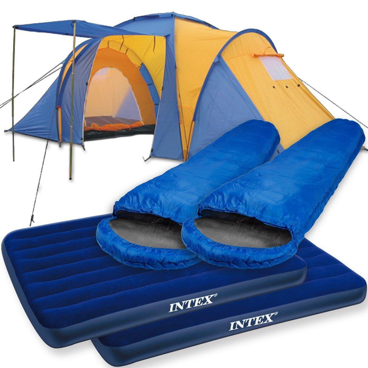 Camping-Komplett-Set / Zeltset bestehend aus Monkey Mountain Zelt + 2x Luftbett + 2x Mumienschlafsack