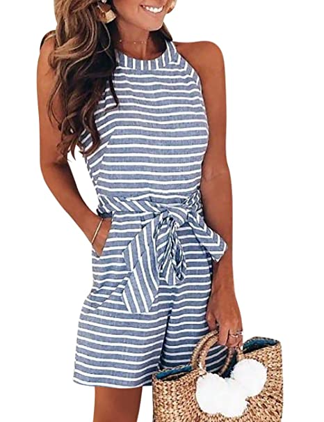 f447577d8eba Amazon.com  EverChic Women s Casual Striped Sleeveless Halter Sexy Short Romper  Jumpsuit  Clothing