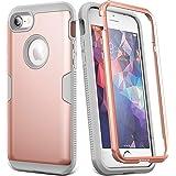 YOUMAKER iPhone 8 和 iPhone 7 手机壳,全机身坚固,内置屏幕保护膜,重型保护,超薄贴合,防震,适用于 Apple iPhone 8 (2017) 4.7 英寸 Rose Gold/Gray