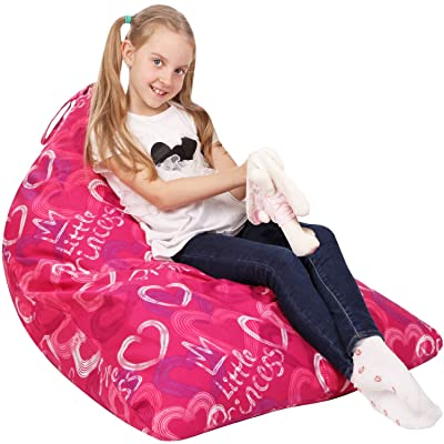 5 STARS UNITED Stuffed Animal Storage Bean Bag - Cover Only - Large Triangle Beanbag Chair for Kids - 150+ Plush Toys Holder - Floor Pillows Organizer for Girls - 100% Cotton Canvas - Little Princess: Home & Kitchen