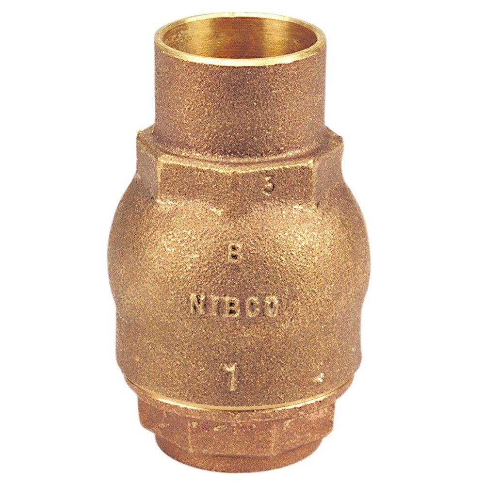 NIBCO S-480-Y-LF Silicon Bronze Lead-Free Check Valve, Inline, PTFE Seat, 3/4'' Female Solder Cup
