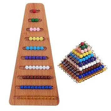 Sharplace Montessori Material Matemáticas 1-10 Granos + Bandeja Trapecio Juguete Educativo Temprano para Niños