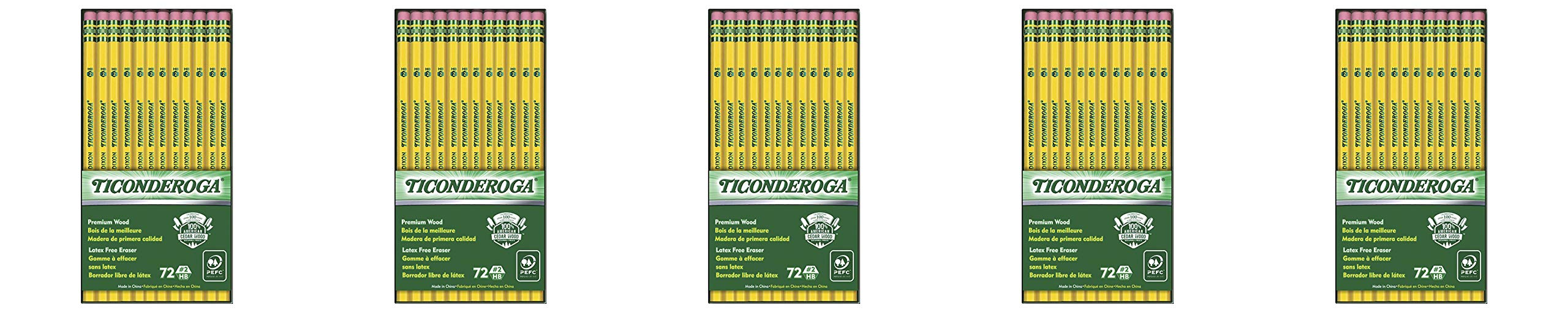 Ticonderoga Wood-Cased Graphite Pencils, 2 HB Soft, With Eraser, Yellow, 72 Count (33904) 5 Pack by Dixon (Image #1)