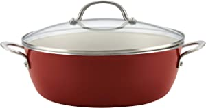 Ayesha Curry Home Collection Nonstick Stock Pot/Stockpot with Lid, 7.5 Quart, Sienna Red