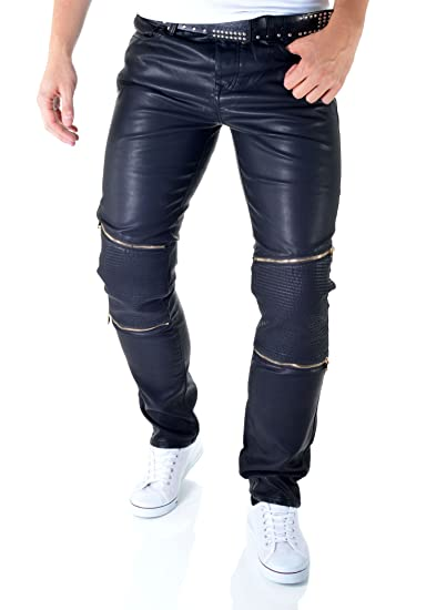 7cdc0a6f461cef D&R Fashion Eco Leather Black Skinny Jeans Mens Motorcycle Trousers Biker  Pants Zips Casual: Amazon.co.uk: Clothing