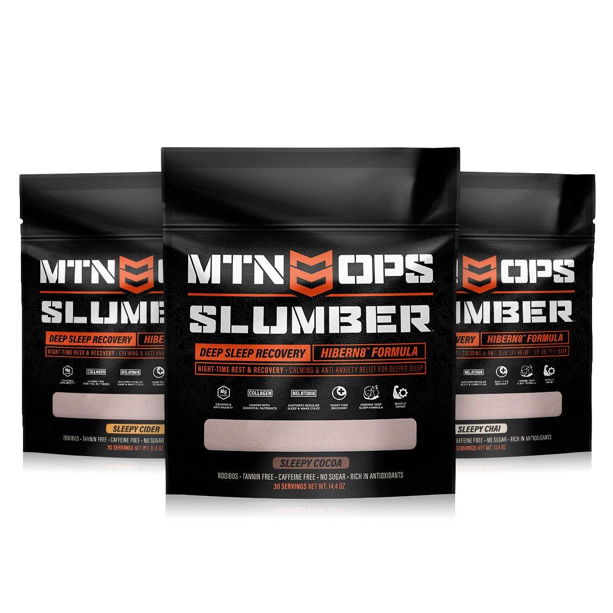 MTN OPS Slumber Hibern8 NighTime Rest Recovery Drink Sleep Aid (3 Pack), Sleepy Chai Flavor, Sleepy Cocoa, Sleepy Cider, 30 Servings Per Container