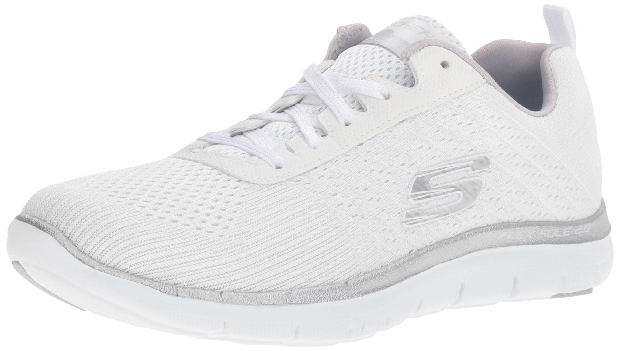 Skechers Sport Women's Flex Appeal 2.0 Break Free Fashion Sneaker, White/Silver, 8 M US