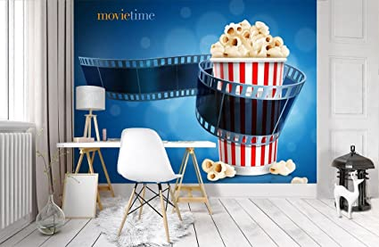 Amazon Com Popcorn Movie Theatre Wallpaper Woven Self
