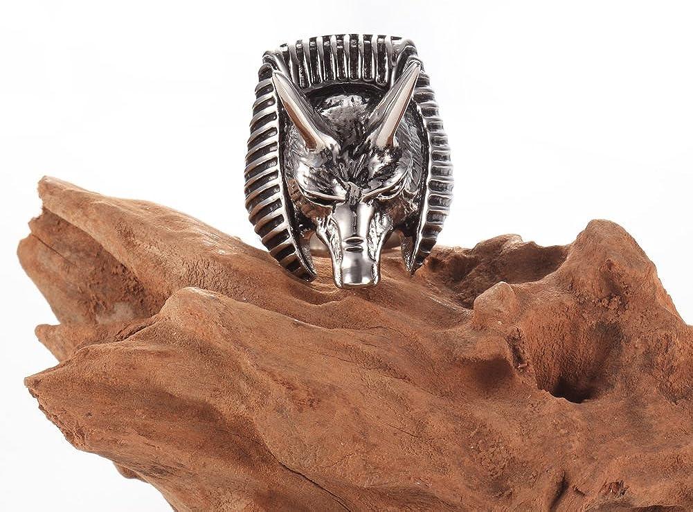 Silver Black Mens Vintage Biker Mens Wolf Head Stainless Steel Ring