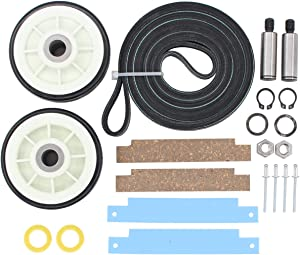 ApplianPar Dryer Maintenance Kit 312959 Belt & 12001541 Drum Rollers & 306508 Slides Dry Tumbler Bearing Kit for Maytag, Jenn-Air, Crosley, Whirlpool, Kenmore